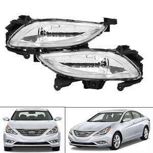 For 2011 2013 Hyundai Sonata Clear Front Bumper Driving Fog Lights Lamps Lh Rh