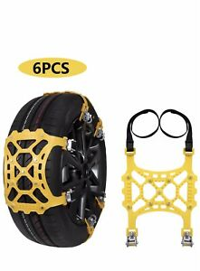 Suptempo Car Snow Chains 6pcs Emergency Anti Slip Tire Traction Chains Upgraded