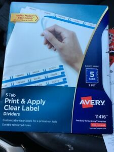 Avery Dividers Clear Label Print Apply 11416 Durable 5 Tabs New Low Shipping