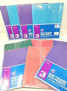 30 Mead Brief Folders 3 Prongs 2 Pockets 10 School Packs Red Blue Purple Green