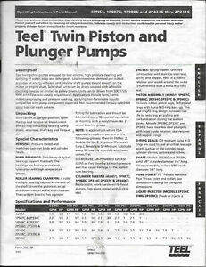 1998 Teel Twin Piston Plunger Pumps Operations Parts Manual 4un51 1p987c