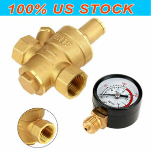Dn15 Water Pressure Regulator Npt 1 2inch Adjustable Brass Reducer Gauge Meter