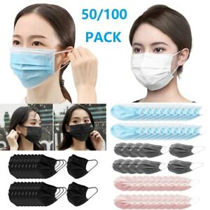 50 100pcs Disposable Face Mask 3 Layers Earloop Mouth Cover Anti dust Protective