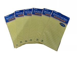 Llned Sticky Note Pads 6 Pack Lot Neon Green 50 Notes Each Pad Nice New