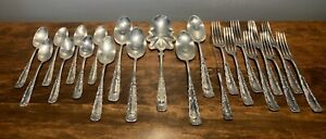 1847 Rogers Portland 1891 Silver Plate Scalloped Serving 2 Serving Spoons 3
