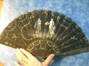 Antique Silk Hand Fan Victorian Figures Intricately Hand Painted