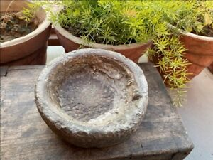 Antique Old Hand Caved Indian Stone Mortar Bowl Garden Decorative Bowl