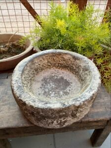 1700 S Ancient Old Hand Caved Marble Stone Mortar Bowl Garden Decorative Bowl