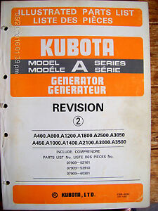 Kubota Model A Series Generator Revision 2 Illustrated Parts List Lot 430