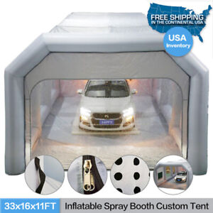 Inflatable Spray Booth W Blowers 33x16x11ft Portable Car Paint Custom Tent New