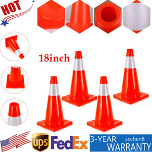 4x Traffic Cones 18 Reflective Caution Strip Road Safety Emergency Parking Cone