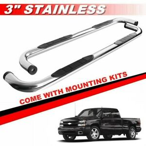 3 Silver For 1999 2018 Chevy Silverado Extended double Cab Nerf Bars Side Steps