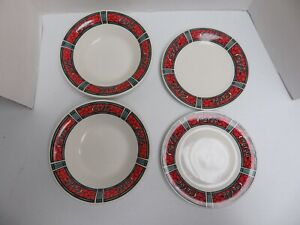 4 pieces COKE Coca Cola Dinnerware Gibson 1996 1997 Bowl and salad plates
