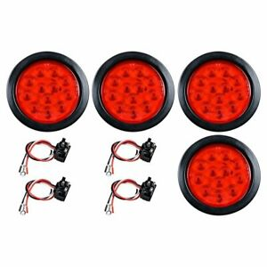 For 4 Inch Red 28 Led Round Stop Turn Tail Truck Light W Grommet