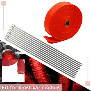 2 50ft 1 Red Roll Exhaust Wrap Manifold Header Pipe Heat Wrap Tape 10 Ties Kit