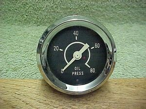 Vintage 80 Psi Oil Pressure Gauge 2 1 4 Mint