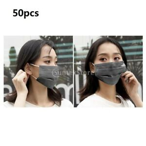 50pcs 3ply Disposable Face Mask Nose Cover Mouth Shield Anti Dust Fog Breathable