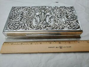 Antique Siam Sterling Silver Cigar Cigarette Jewelry Table Box Wood Lined 8 3 8
