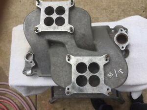 Mickey Thompson Rare Cross Ram Intake Manifold Sbc Chevy Vintage Hot Rod Gasser