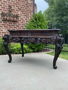 Antique French Table Mahogany Chinoiserie Renaissance Carved Console Entry Table