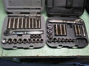 Craftsman Usa Socket Ratchet Set 1 2in Drive 41pc Cases Thin Profile Ratchets