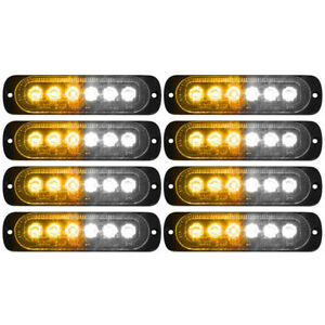 8x Car Truck Amber White 6led Strobe Emergency Flashing Warning Light Bar 12 24v