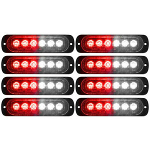 8x Car Truck Red White 6led Strobe Emergency Flashing Warning Light Bar 12 24v