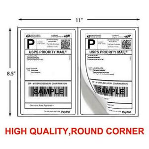 1000 Shipping Labels 8 5 X 5 5 Half Sheets Round Corner 2 Label Per Sheet
