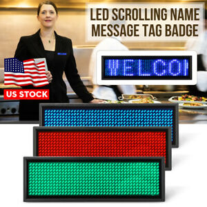 Led Mini Programmable Digital Display Scrolling Bar Message Tag Name Badge Sign