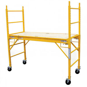 Scaffolding With Caster Wheels Multipurpose 1000 Lb Capacity Wooden Deck 6 Ft