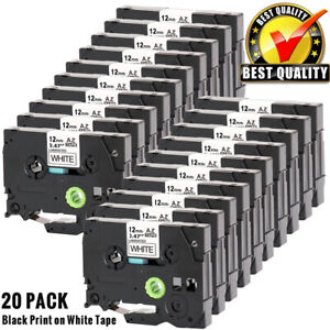 20 Pack 12mm Label Maker Tape For Brother P touch Tz 231 Tze 231 Pt h100 Pt d210