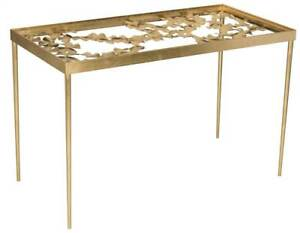 Otto Ginkgo Leaf Desk In Gold And Clear id 3753492