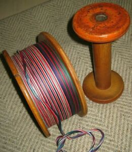 Old Vintage Large Wood Spool Complete W Thread Nice