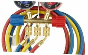 Robinair 40174 Two Way Brass Manifold With 60 Ryb Hoses For R22 404a 410a