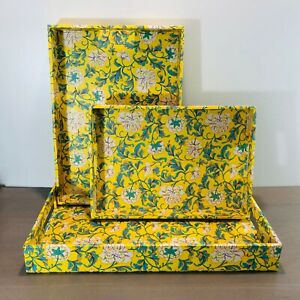 Vintage Organizer Storage Tray 3 Set Yellow Floral Desk Office Accessories Layer