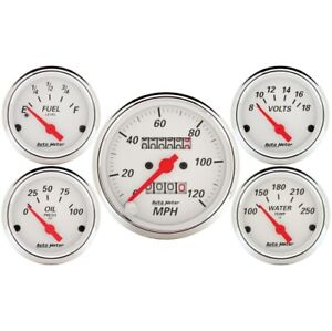 Auto Meter 1300 5 Pc Arctic White Mechanical Speedometer Gauge Kit New