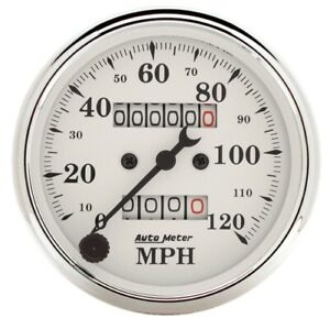 Auto Meter 1693 3 1 8 Speedometer Gauge 0 120 Mph Mechanical Old tyme White New