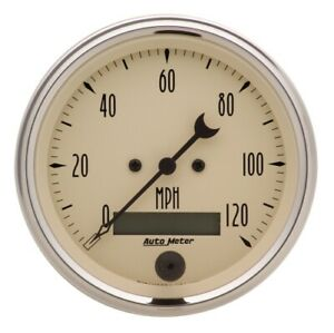 Auto Meter 1880 3 3 8 Speedometer Gauge 0 120 Mph Electric Antique Beige New