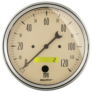 Auto Meter 1889 5 Speedometer Gauge 0 120 Mph Electric Antique Beige New