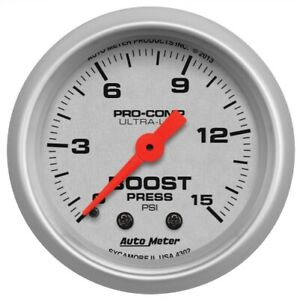 Auto Meter 4302 2 1 16 Ultra lite Mechanical Boost Gauge 0 15 Psi New
