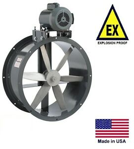 Tube Axial Duct Fan Belt Drive Explosion Proof 42 230 460v 20700 Cfm