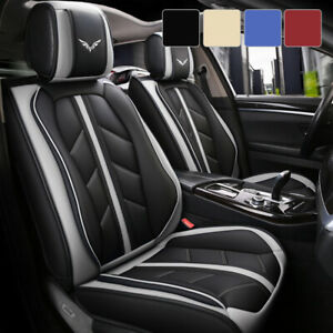 5 Car Seat Covers Full Set W Waterproof Leather Universal For Sedan Suv Truck