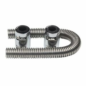 36 Chrome Flexible Stainless Steel Universal Radiator Hose W Chrome Caps Kit