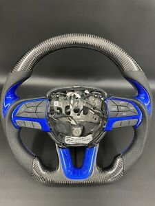 2014 2019 Dodge Durango Charger Challenger Carbon Fiber Steering Wheel Blue