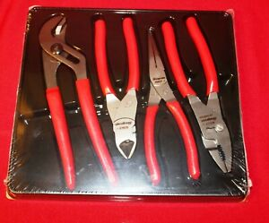 Snap On Pliers And Cutters Pl400b Red 4 Pc Brand New