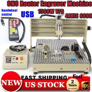 1xusb 6090 4axis Cnc Router Engraving Machine Drilling Milling 3d Cutter Tool rc