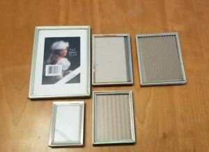 Lot 5 Of Antique Vintage Metal Picture Frames All Are Easel Backed