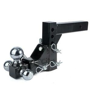 Triple 3 Ball Adjustable Drop Turn Trailer Tow Hitch Mount Receiver Truck 2 X 2