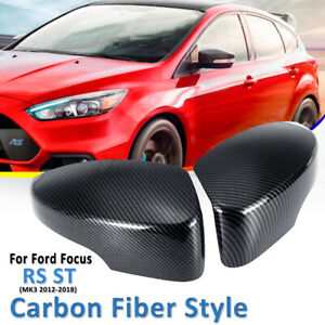 2pc Carbon Fiber Style Rearview Mirrors Cover For Ford Focus Rs St Mk3