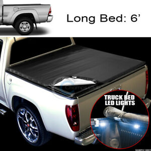 Snap On Vinyl Tonneau Cover 16x Led Lights For 16 20 Toyota Tacoma 6 Truck Bed